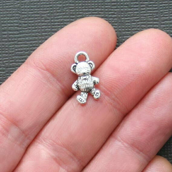 8 Teddy Bear Charms Antique Silver Tone Adorable 2 Sided - SC1039
