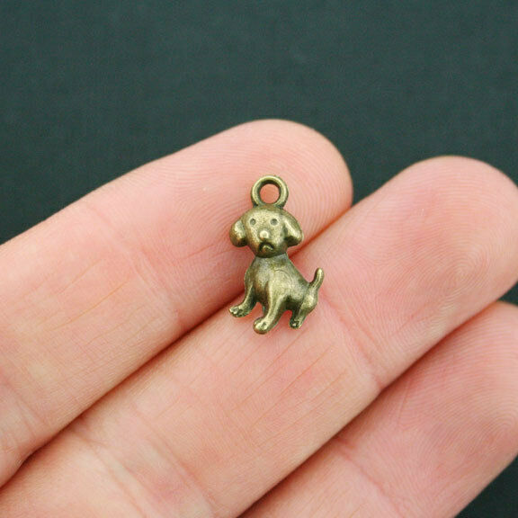 10 Dog Charms Antique Bronze Tone Cute Puppy BC1174 $3.49