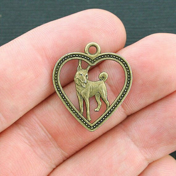 8 Dog Charms Antique Bronze Tone German Shephard or Husky BC1080 $3.49