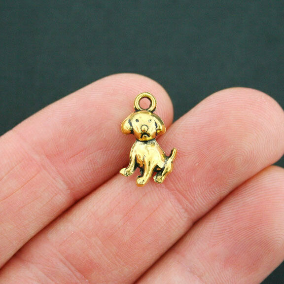 10 Dog Charms Antique Gold Tone GC622 $3.49