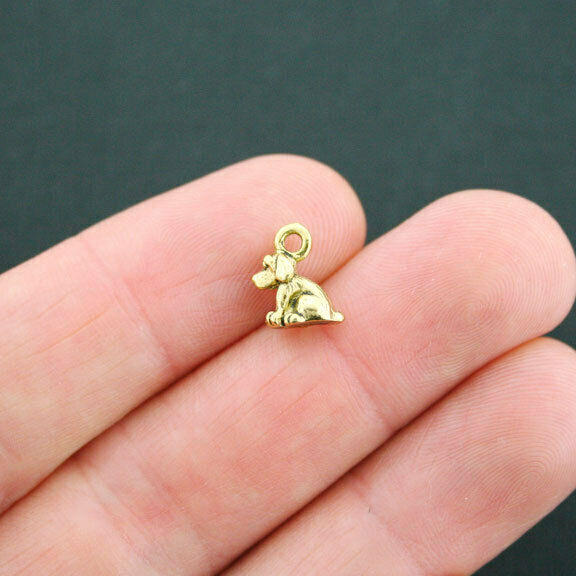 10 Dog Charms Antique Gold Tone 3 Dimensional Too Cute GC598 $3.99