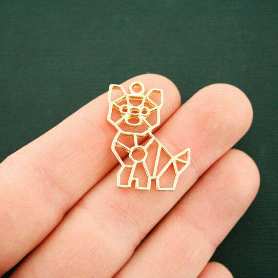2 Origami Dog Charms Gold Tone 2 Sided GC1120 $3.49