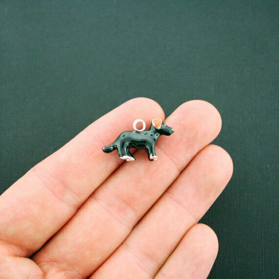 2 Black Dog Charms Silverplated Enamel 3D Details Fun and Colorful E199 $4.49