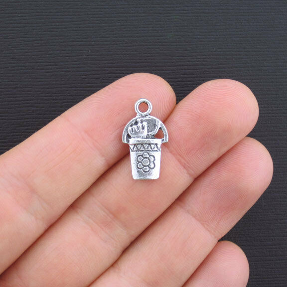 6 Gardening Charms Antique Silver Tone 2 Sided Pail with Tools - SC1632