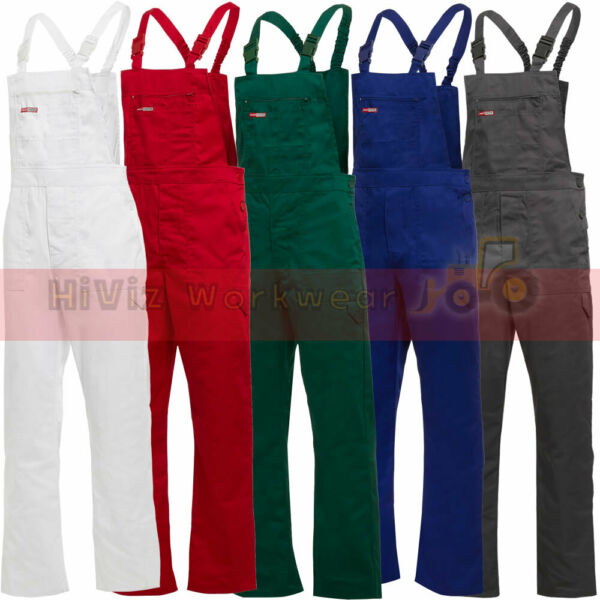 Bib & Brace Overalls Painters Decorators Mens Work Trousers Half Elastic Waist