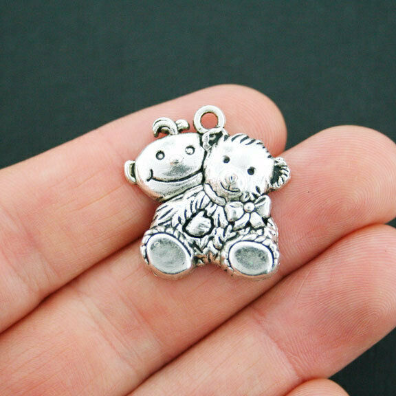 4 Baby Charms Antique Silver Tone Sitting with Teddy Bear SC5012 $3.49