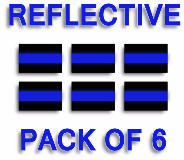 PACK OF 6 REFLECTIVE THIN BLUE LINE License Plate Decals Stickers Police Trooper $2.99