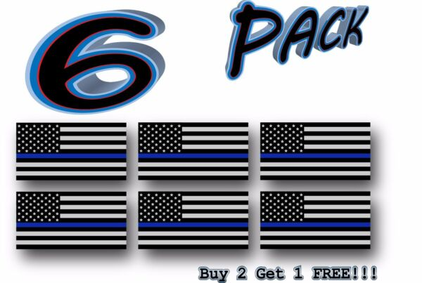 6 Pack Thin Blue Line Police Flag USA American Sticker Decal Blue Lives Matter $3.99