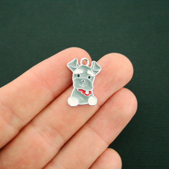 4 Dog Charms Silver Plated Enamel Fun and Colorful E349 $4.44