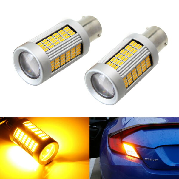 No Hyper Flash 25W Amber 1156 CANbus LED Bulbs For FrontRear Turn Signal Light