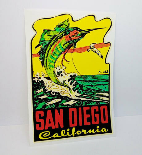 San Diego California Fishing Vintage Style Travel Decal  Vinyl Sticker
