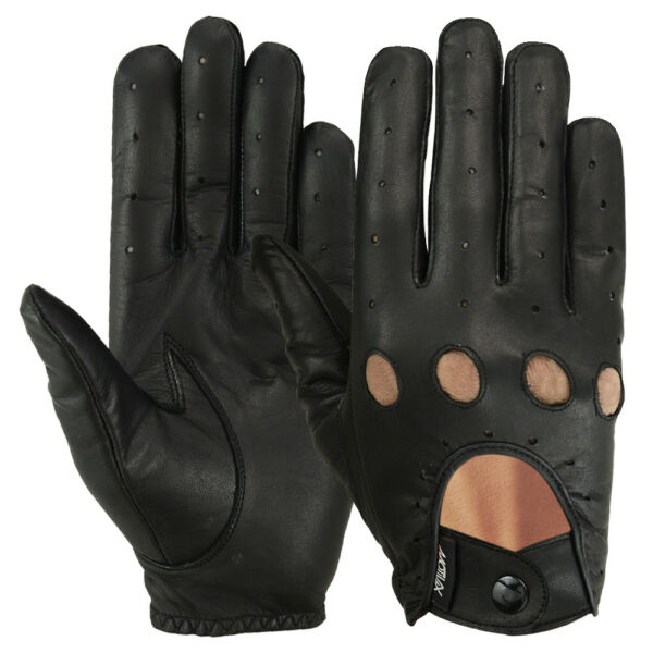 Driving Gloves Car Motorcycle Bikers Genuine Leather Police Drivers Glove Black $12.99