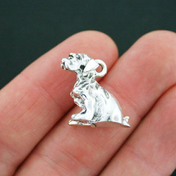 2 Dog Charms Antique Silver Tone 3D Hound Charm SC4125 $3.99