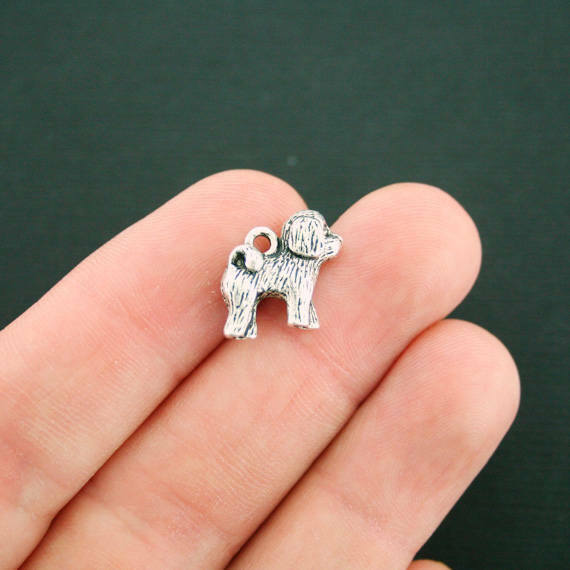 4 Dog Charms Antique Silver Tone 3D Just Adorable SC7378 $3.49