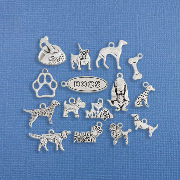 Dog Charm Collection Antique Silver Tone 15 Different Charms COL210 $5.74