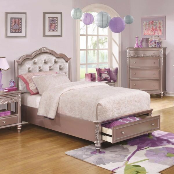 LOVELY METALLIC LILAC RHINESTONE TUFTED FULL STORAGE BED BEDROOM FURNITURE  $699.00