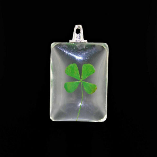 Four Leaf Clover Pendant - 2 Sided Glass with Real Clover - Simply Lovely - Z259