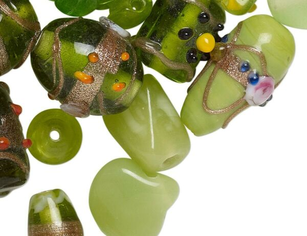 100 Grams 60 100 Beads Fancy Lampwork Glass Peridot Green Glass Bead Mix $9.99