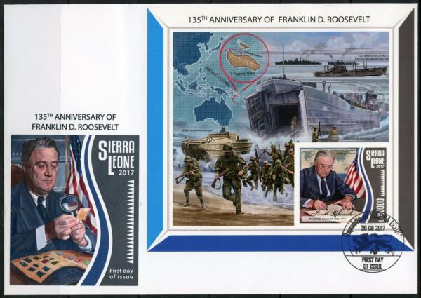 SIERRA LEONE 2017   135th BIRTH OF FRANKLIN D ROOSEVELT IMPERF SSHEET FDC $45.95