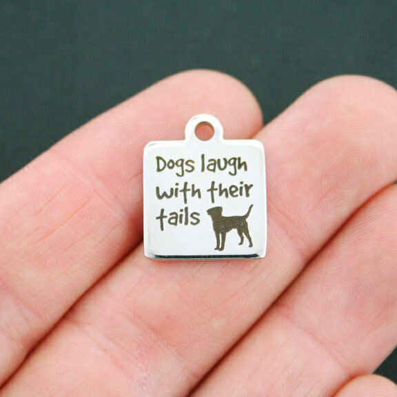 Dog Charm Stainless Steel Charm Dogs Laugh with Their Tails BFS668 $3.05