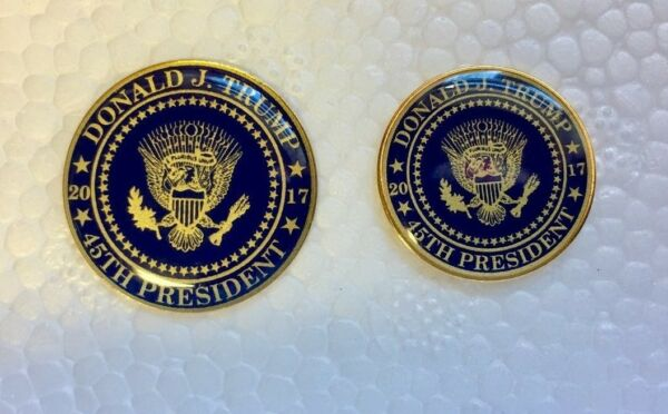 Support Donald Trump Presidential Seal 45th 2017 Lapel Pin set of 2 blue gold $10.99