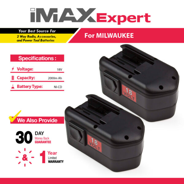 2 x NEW 18V 18 VOLT BATTERY for MILWAUKEE 48-11-2200 48-11-2230 48-11-2232