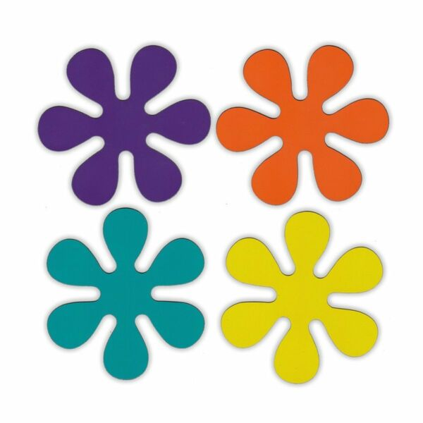 Magnetic Bumper Sticker Set of 4 Magnets 1970s Disco Style Flowers Magnets