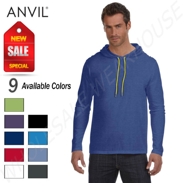 Anvil Cotton Lightweight Long Sleeve Hooded T Shirt M 987AN