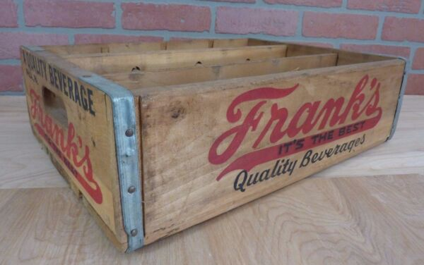 Old FRANK'S QUALITY BEVERAGES PHILA PA Wooden Soda Crate Box Soda Drink 12 Slot