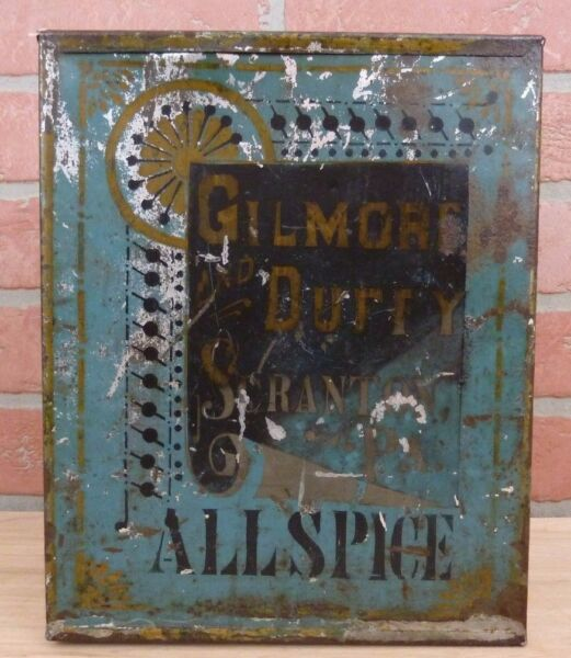 Antique 19c GILMORE & DUFFY SCRANTON PA Allspice Tin Container Pantry Spice Box