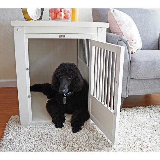 Pet Crate Bed End Table Dog Kennel Cage S M L XL Ecoflex Wood White No Tools
