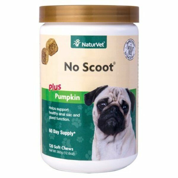 No Scoot Plus Pumpkin Naturvet Soft Chew Support Healthy Bowel Dog 120 ct