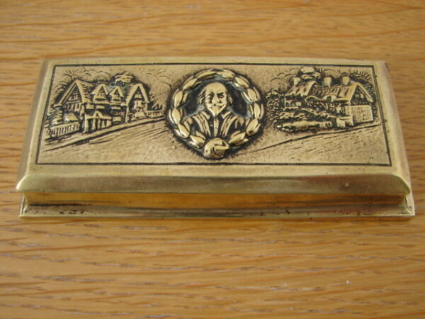 Solid Brass William Shakespeare Edwardian Stamp Box