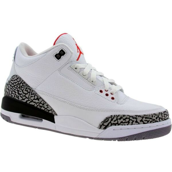 136064-105 Authentic Nike Air Jordan 3 III Retro white / fire red / cement grey