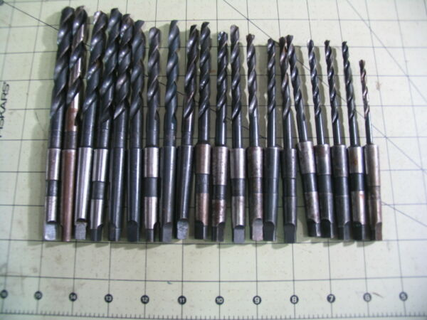 Set of 20 USA Made M1 Taper High Speed Drill bits 3 16quot; 15 32quot; F Resharpened