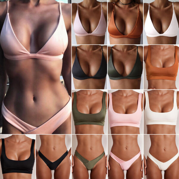 Womens Brazilian Bikini Bra Top V Thong Bottoms Beach Swimsuit Bathing Swimwear