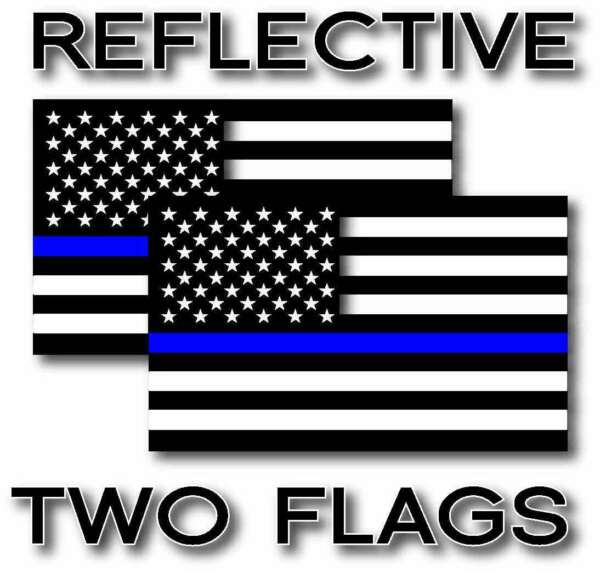 2x REFLECTIVE Blue Lives Matter Police USA Blue line Decal Stickers 12 Sizes $8.99