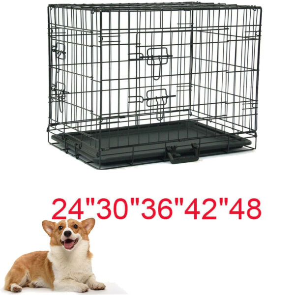 Dog Crate Kennel Folding Metal Pet Cage 2 Door Divider Tray Pan SMLXLXXL