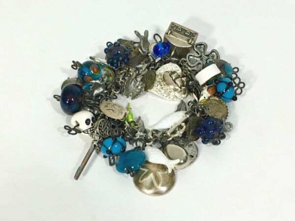 Vintage 1950smixed MERMAID PIRATE NAUTICAL theme loaded charm bracelet w50 pcs