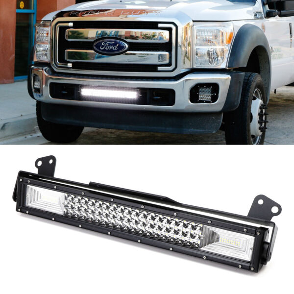 FloodSpot Beam LED Light Bar w Lower Bumper Bracket Wire For 11-16 F250 F350