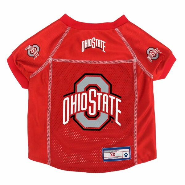 NEW OHIO STATE BUCKEYES DOG PET PREMIUM JERSEY wNAME TAG LE