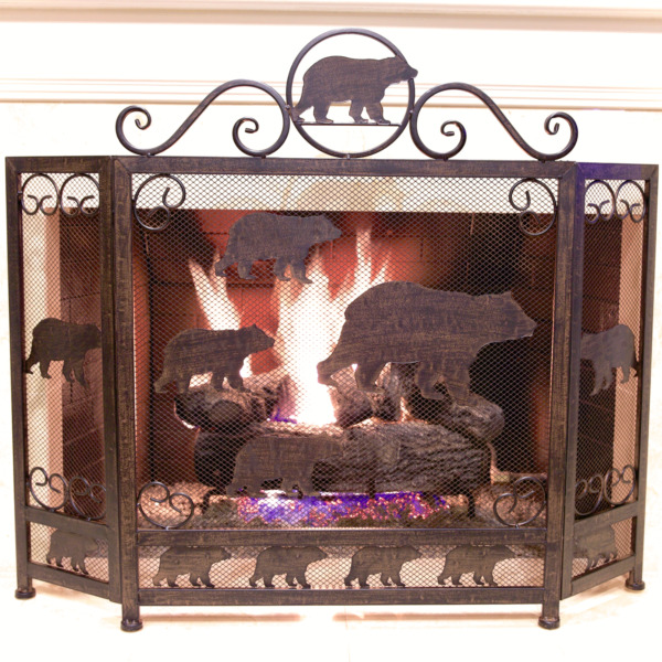 Rustic Metal Heavy Fireplace Screen with Bear Design
