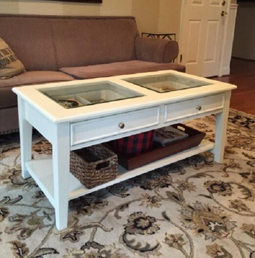 Solid Wood Glass Top Shadow Box Display Coffee Table 2 Drawers Shelf Off White
