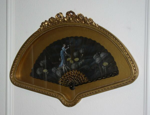 ANTIQUE VICTORIAN FAN FRAMED IN SHADOW BOX- HAND PAINTED- ARTIST SIGNED