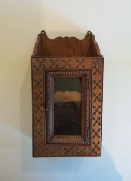 American Flemish TRAMP ART Carved Hanging Cabinet c. 1900
