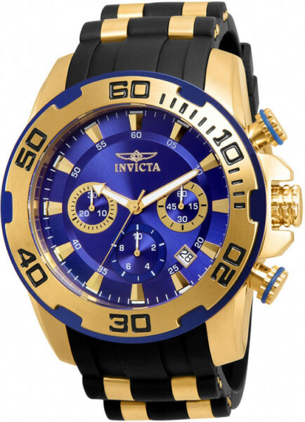 Invicta Men#x27;s Pro Diver Chrono 100m Stainless Steel Black Silicone Watch 22313