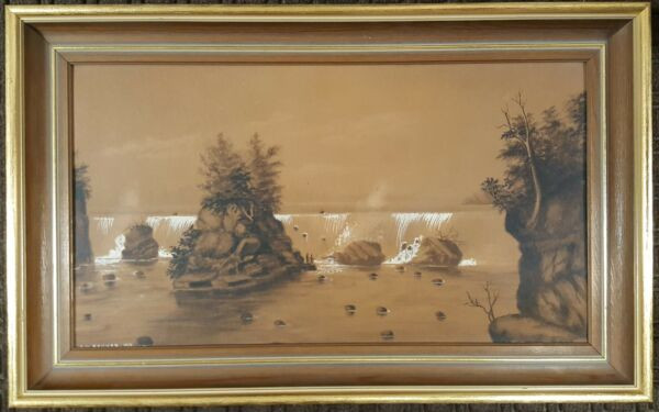ANTIQUE AMERICAN PAINTING FALLS OF ST ANTHONY MN NATIVE AMERICANS BAUMER CHICAGO