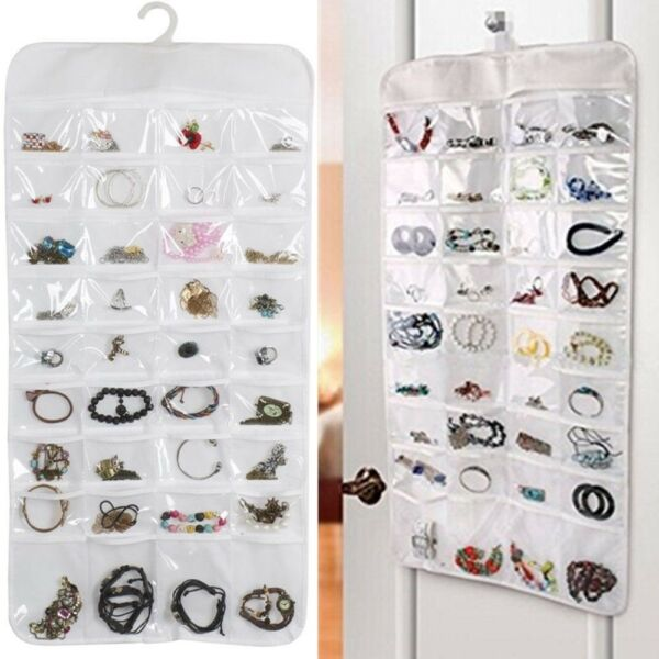 72 Pocket Hanging Jewelry Organizer Bracelet Earring Ring necklace Pouch Holder