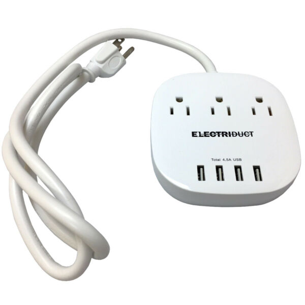 Portable Power Strip with 4 USB Charging Ports (5V4.5A) and 3 Power Outlet