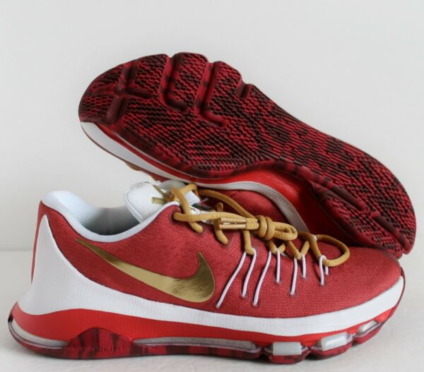 Nike KD 8 VIII Kevin Durant Maroon-Red-Gold-White SZ 8 ( 818303-901 )